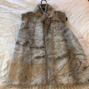 Beige Faux Fur Vest with Crochet Knit Back